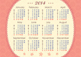 Calendar for 2014. Week starts with Monday