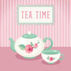Tea time. Tea pot and cup against striped background