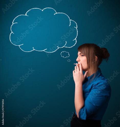 Beautiful lady smoking cigarette with idea cloud