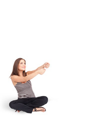 Young lady gesturing with copy space