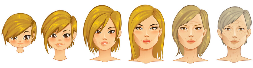 Aging Process - Portraits on different layers