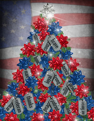 military Christmas tree with dog tags