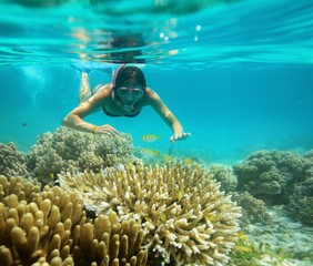 Underwater adventure of a young girl in the tropical sea