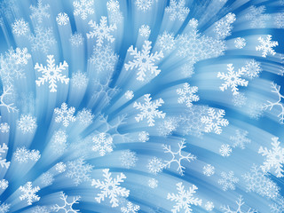 Firework of snowflakes. Blue background