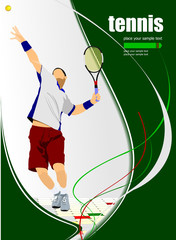Tennis player poster. Colored Vector illustration