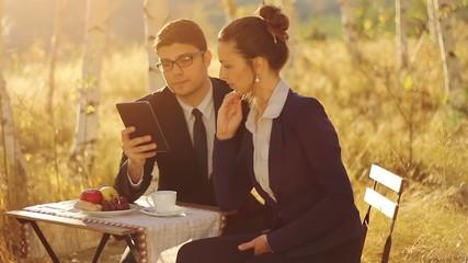 Businessman making proposition using tablet teamowork concept