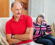 Senior married couple having quarrel