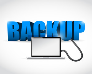 Backup sign connected to a laptop. illustration