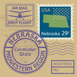 Stamp set with name of Nebraska, vector