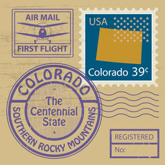 Stamp set Colorado, vector
