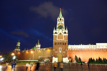 Spassky, Tsarskaya and  Nabatnaya Towers of Moscow Kremlin at Re