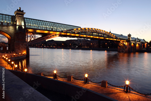 Keuken foto achterwand Antwerpen Andreyevsky (Pushkinsky) Bridge (left side) across Moskva River,