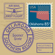Stamp set with name of Oklahoma, vector