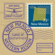 Stamp set with name of New Mexico, vector