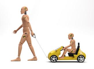 Adult Male Crash Test Dummy with Child Dummy II