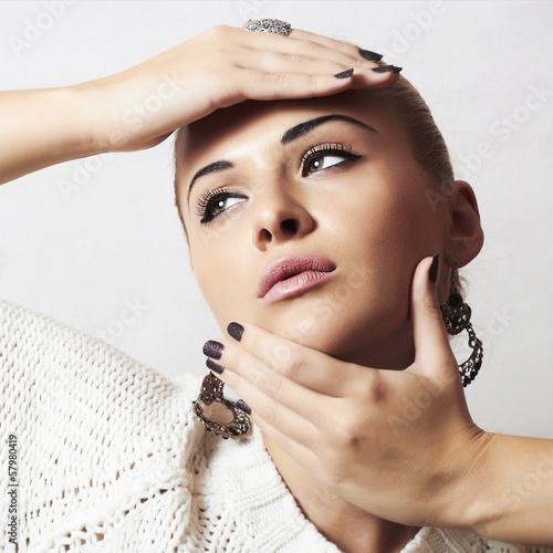 Beautiful woman.Jewelry and Beauty.manicure.hairless girl