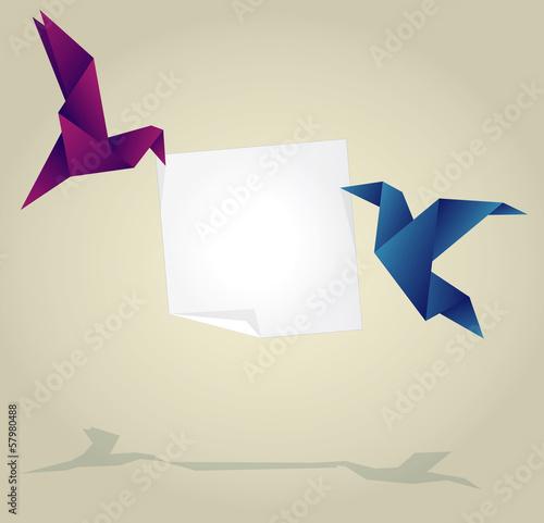 Deurstickers Geometrische dieren Origami Birds Holding Empty Paper Banner
