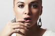 Beautiful woman.Jewelry and Beauty.manicure.hairless