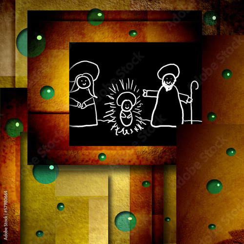 funny Christmas card drawing holy family