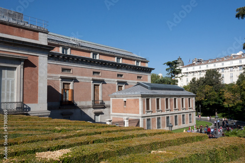 Exterior garden El Prado Museum, clipped hedges - Spain