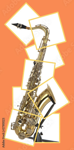 Tenor sax in boxed puzzle