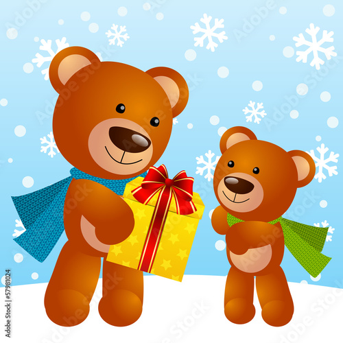 Funny bears with gift box