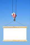 Construction crane hook lifting blank billboard
