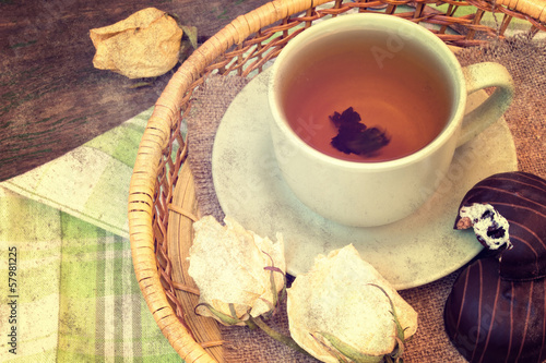 cup of tea on a tray in vintage style
