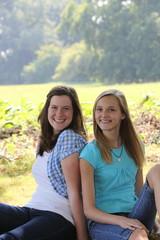 Friendly happy teenage girls in the park