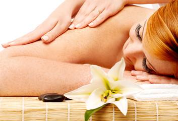 Pretty woman getting spa massage
