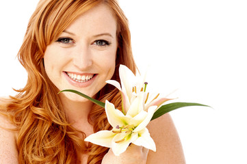 Beauty woman holding lily flower