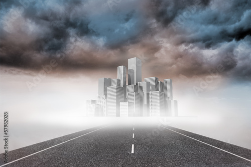 Cityscape on stormy landscape background