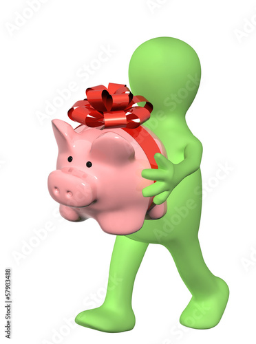 Puppet with piggy bank