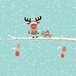 Rudolph Pulling Sleigh With Gift On Tree Retro