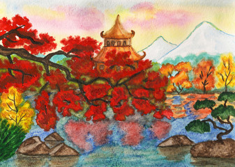 Autumn in Japan, painting
