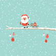 Santa Glasses Sleigh Gift Tree Retro