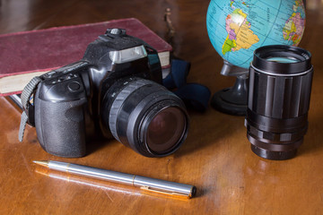 Plan to travel,camera with globe