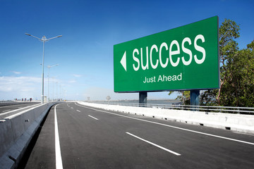 road with sign of success
