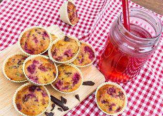 Cherry and dark chocolate muffins