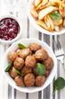 swedish meatballs with potatoes and lingon jam