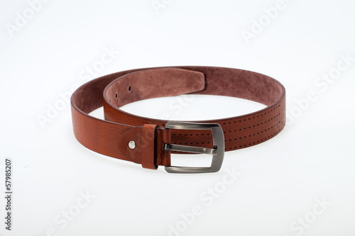 Men  brown  belt isolated on white.