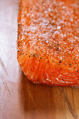 smocked spiced salmon homemade on wooden board