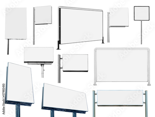 Collection of many advertising banner billboard and sign