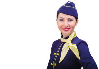 Beautiful smiling stewardess in uniform