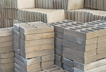 Stack of concrete blocks at the constructing site