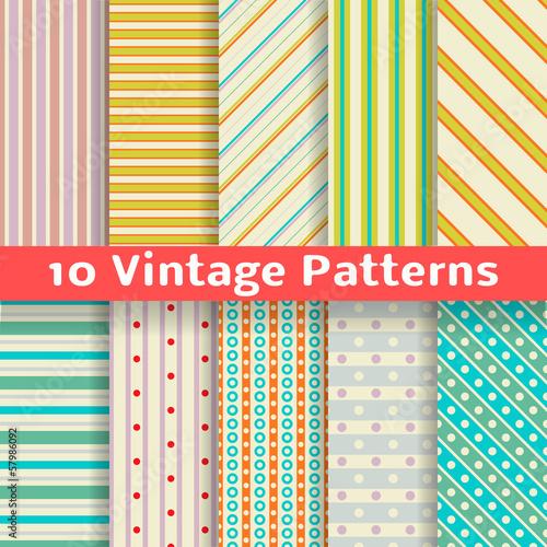 Different vintage stripe vector seamless patterns (tiling).