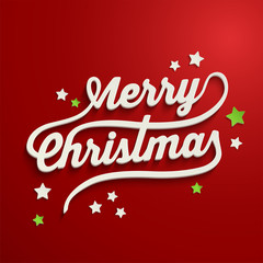 Merry Christmas white lettering over red background