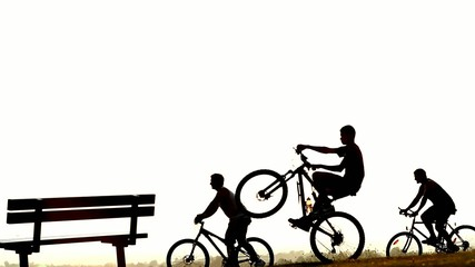 Silhouette of a cyclist doing a wheelie bicycle trick