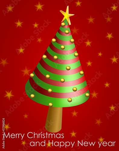 Wish card with conical Christmas tree and golden shiny balls