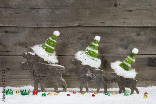 Weihnachten - Dekoration mit Holz weiß grün - Weihnachtskarte